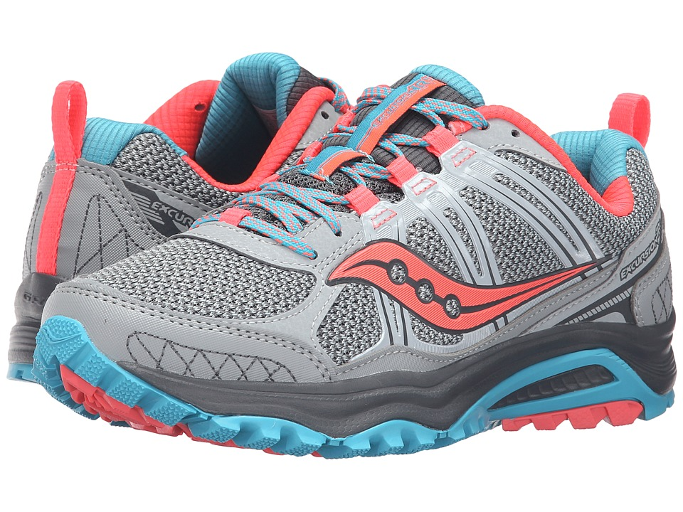 Saucony - Excursion TR10 (Grey/Blue/Coral) Women's Running Shoes