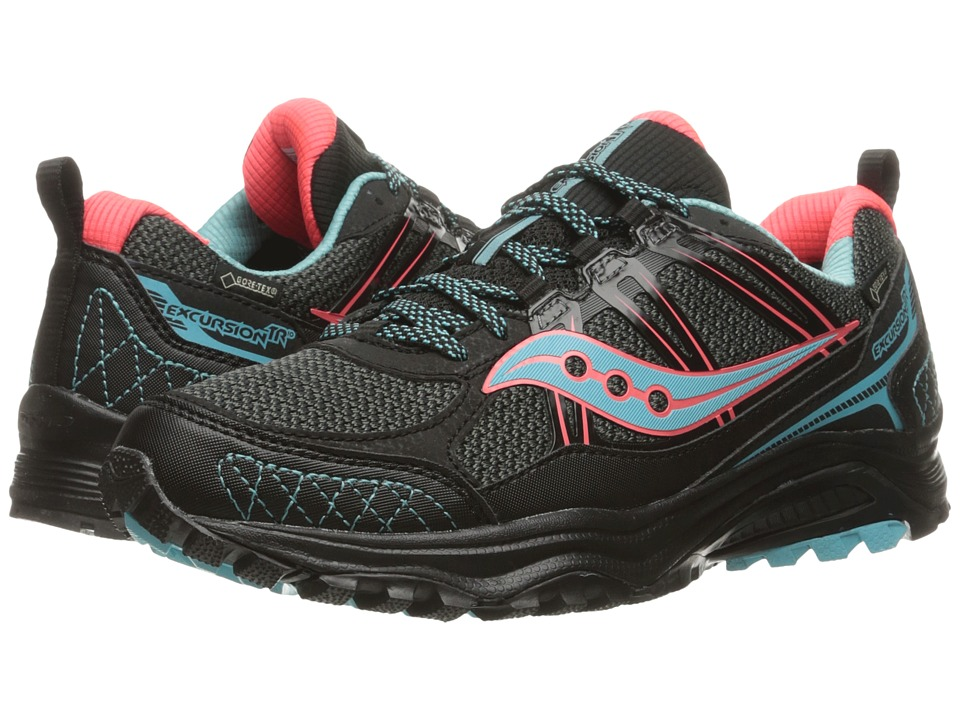 Saucony - Excursion TR10 GTX (Black/Coral/Blue) Women's Running Shoes