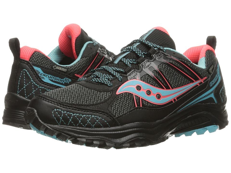 Saucony - Excursion TR10 GTX (Black/Coral/Blue) Women's Running Shoes