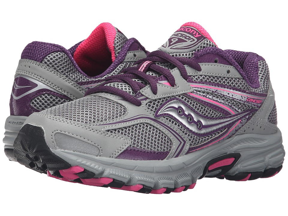 Saucony - Cohesion TR9 (Grey/Berry/Pink) Women's Running Shoes