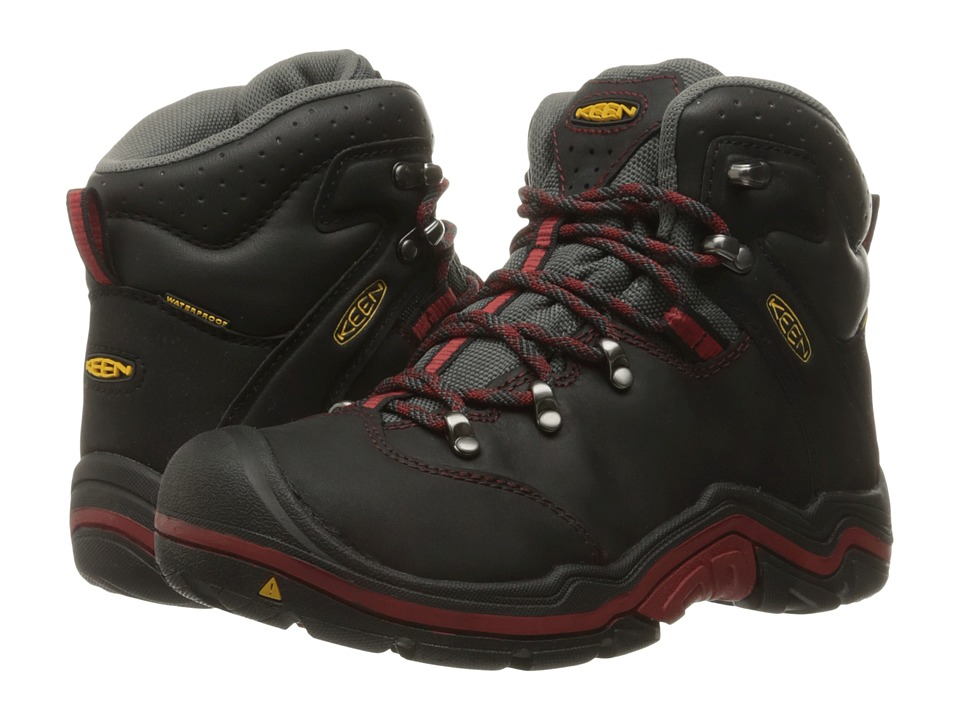 Keen Kids - Torino Mid WP (Little Kid/Big Kid) (Black/Red Dahlia) Boys Shoes