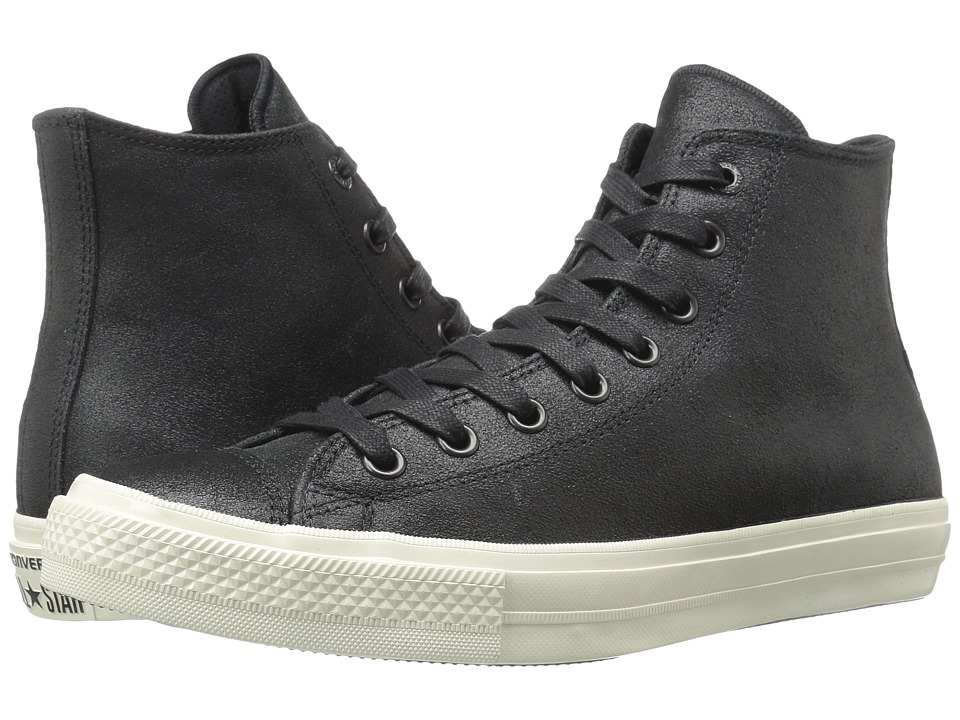 Converse by John Varvatos - Chuck Taylor All Star II Coated Leather Hi (Black/Black/Turtledove) Lace up casual Shoes