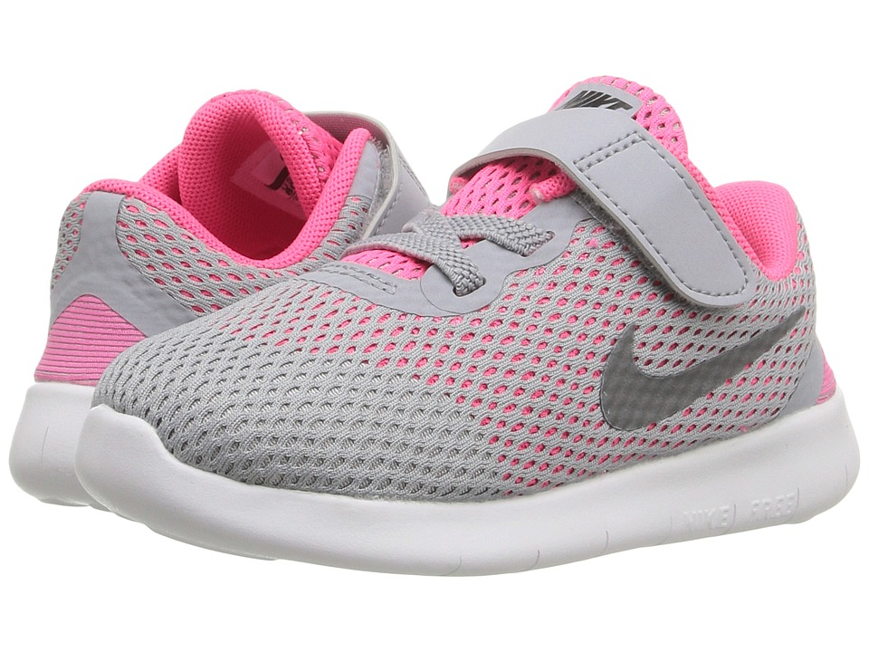 Nike Kids - Free RN (Infant/Toddler) (Wolf Grey/Metallic Silver/White/Black) Girls Shoes