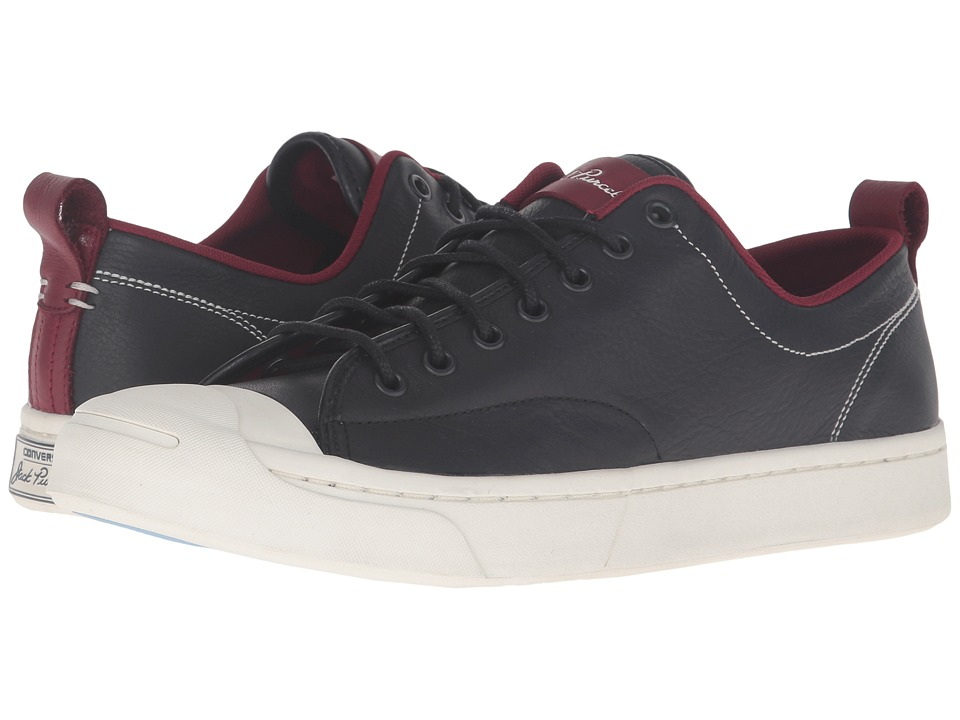 Converse - Jack Purcell M-Series Tumbled Leather Ox (Black/Red Block/Egret) Men's Lace up casual Shoes