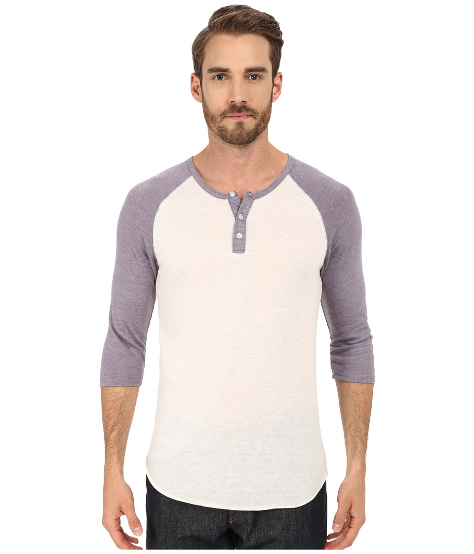 Alternative - 3/4 Raglan Henley (Eco Ivory/Eco True Purple Dusk) Men's Long Sleeve Pullover