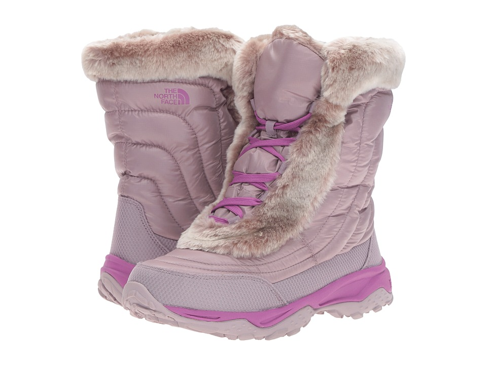 The North Face Kids - Nuptse Faux Fur II (Toddler/Little Kid/Big Kid) (Quail Grey/Wisteria Purple) Girls Shoes