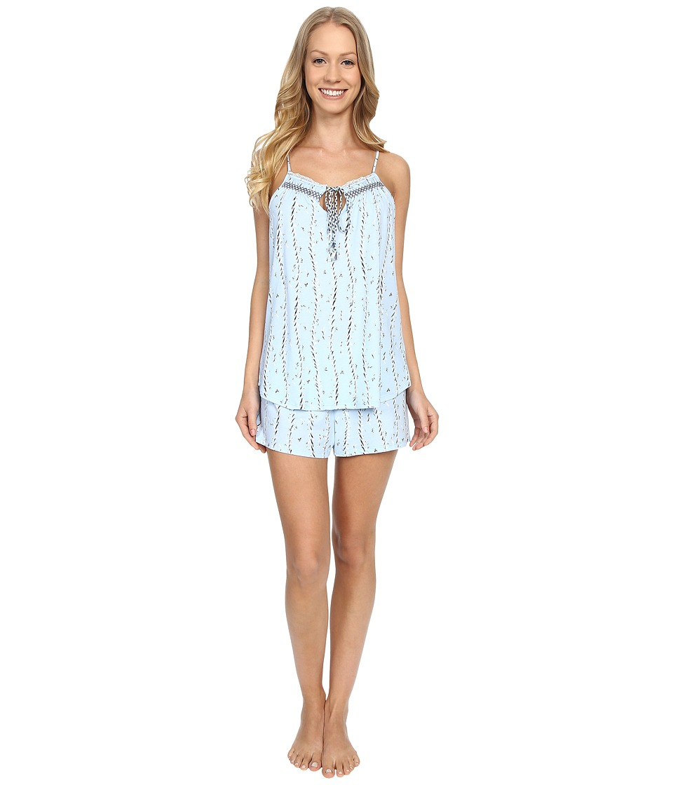 Lucky Brand - Smocked Shorty Set (Tile Vines Clarity) Women's Pajama Sets
