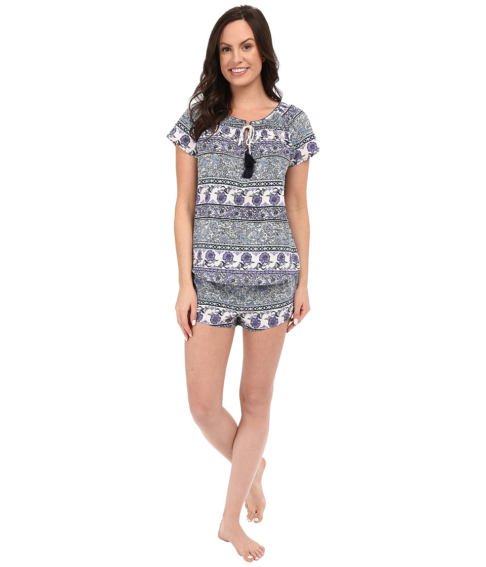 Lucky Brand - Smocked Shorty Set (Floral Peacock Blue) Women's Pajama Sets