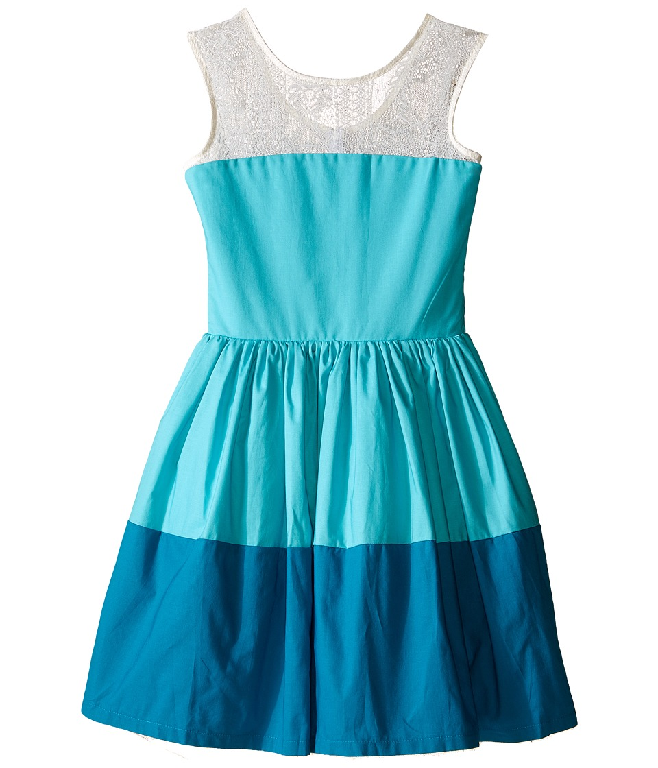 fiveloaves twofish - On The Water Dress (Little Kids/Big Kids) (Teal) Girl's Dress