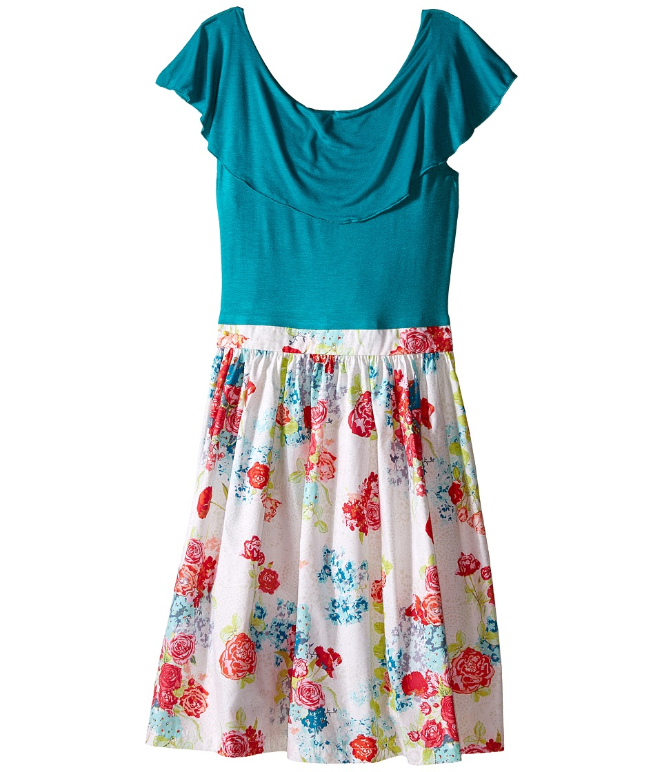 fiveloaves twofish - Riviera Dress (Little Kids/Big Kids) (Jade/Floral) Girl's Dress