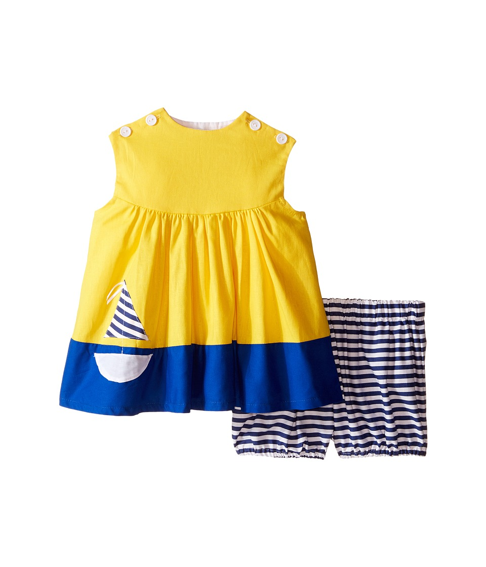fiveloaves twofish - Smooth Sailing Dress (Infant) (Sunshine/Navy) Girl's Dress