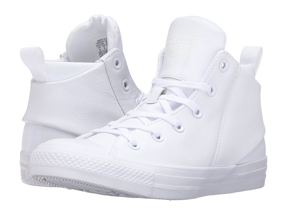 Converse - Chuck Taylor All Star Sloane Monochrome Leather Hi (White/White/White) Women's Lace up casual Shoes