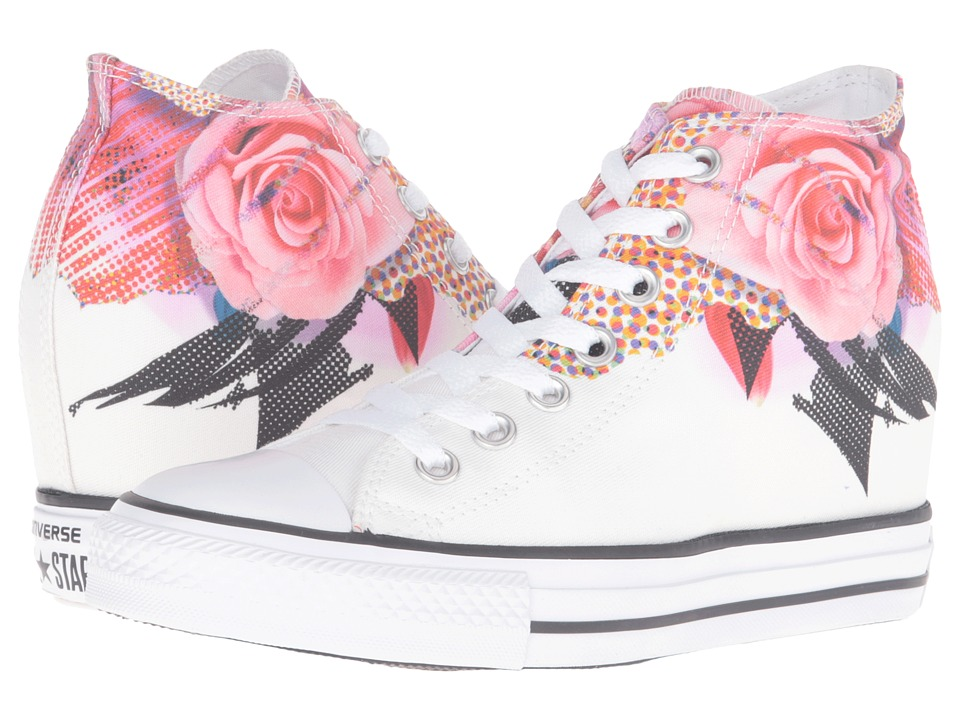 Converse - Chuck Taylor All Star Lux Digital Floral Print Mid (White/Pink/Black) Women's Lace up casual Shoes
