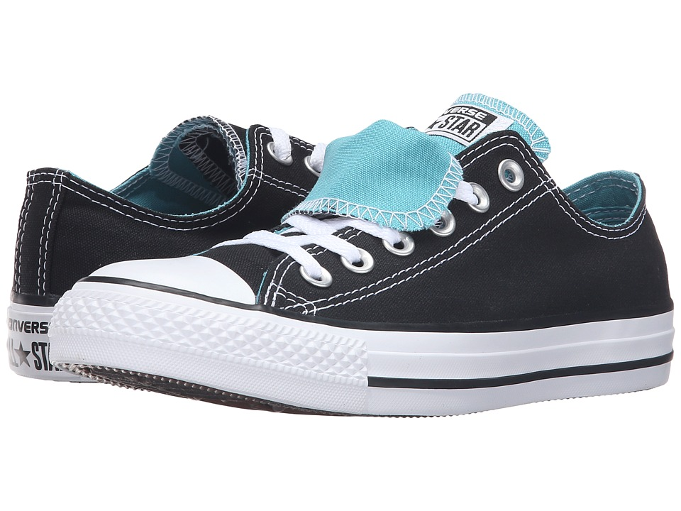 Converse - Chuck Taylor All Star Double Tongue Color Plus Ox (Black/Aegean Aqua/White) Women's Lace up casual Shoes