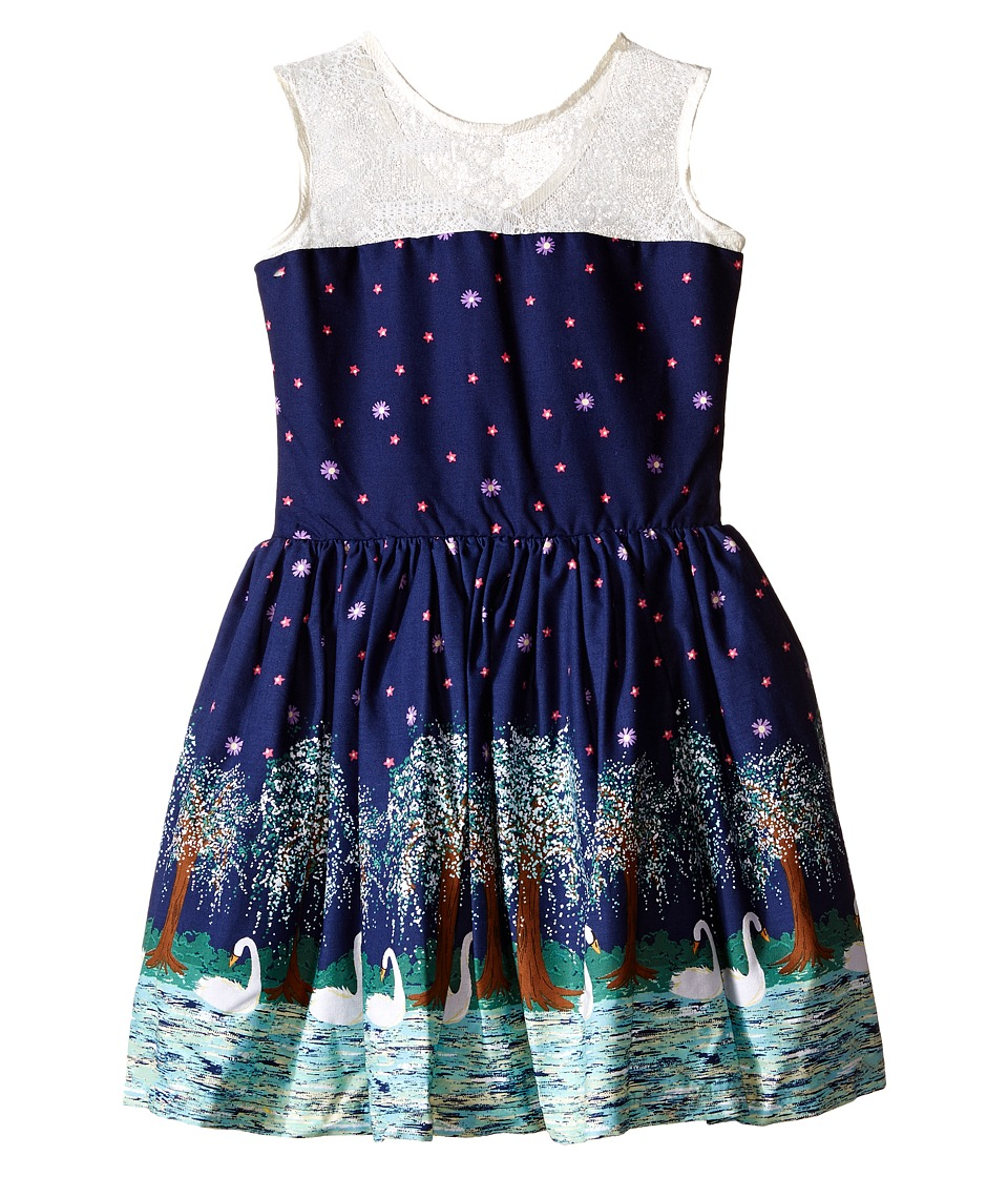 fiveloaves twofish - Swan Soiree Dress (Little Kids/Big Kids) (Navy) Girl's Dress