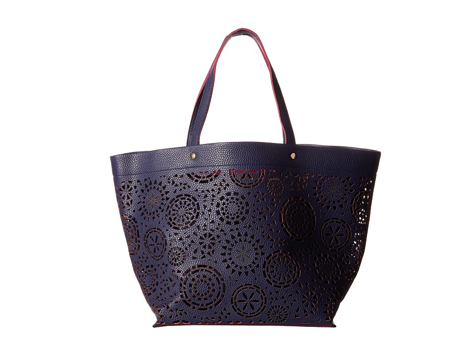 Deux Lux - Maya Perforated Tote (Navy) Tote Handbags