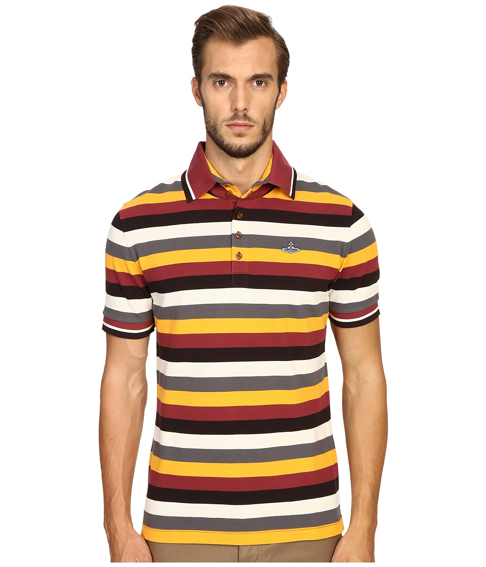 Vivienne Westwood - Striped Pique Krall Polo (Black Stripe) Men's Clothing