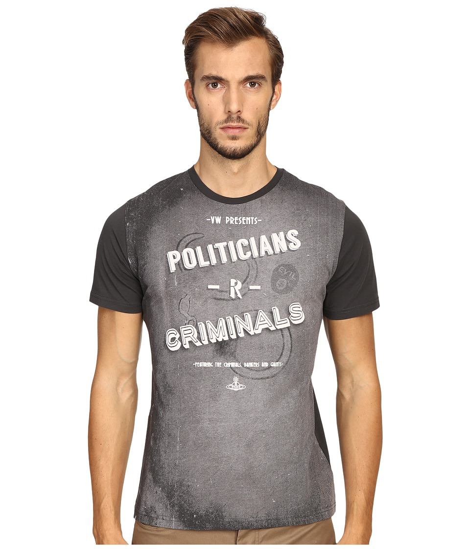 Vivienne Westwood - Politician -R- Criminals T-Shirt (Charcoal) Men's T Shirt