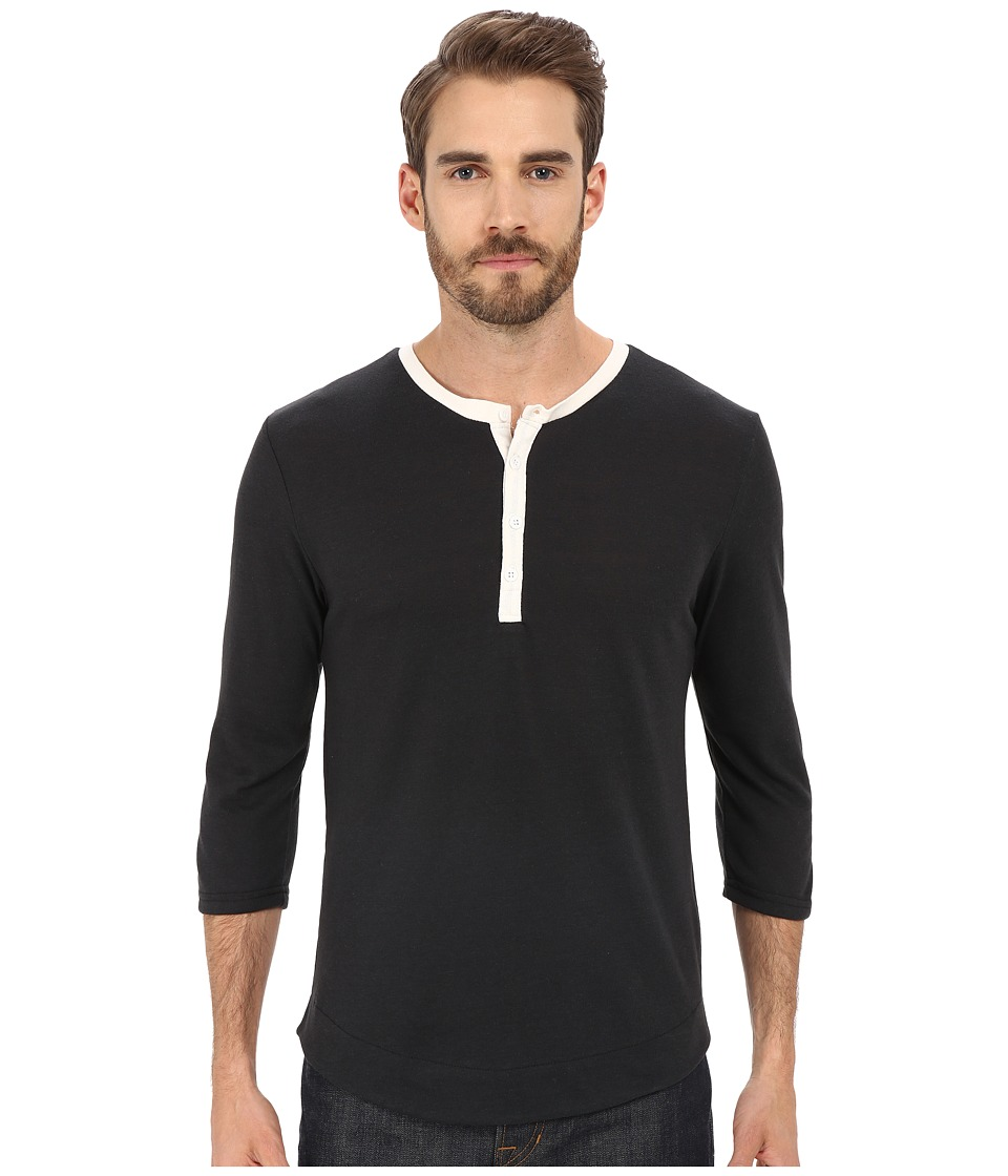 Alternative - Eco Jersey Pastime Henley (Eco True Black) Men's Long Sleeve Pullover