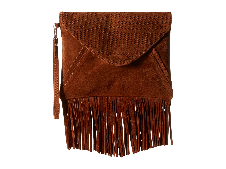 TOMS - Suede Clutch (Brown) Clutch Handbags