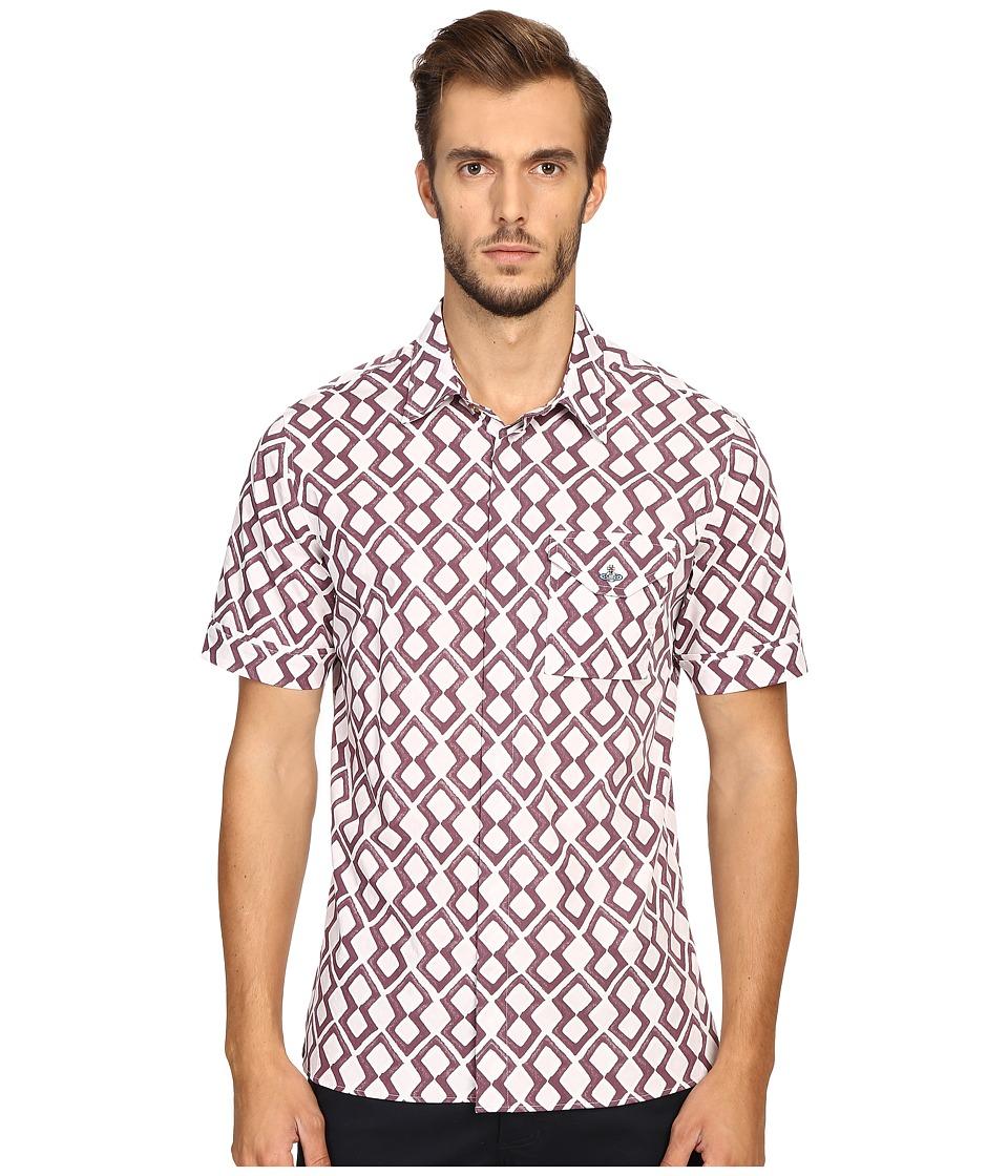 Vivienne Westwood - Printed Stretch Poplin Street Shirt (Pink Diamonds) Men's Clothing