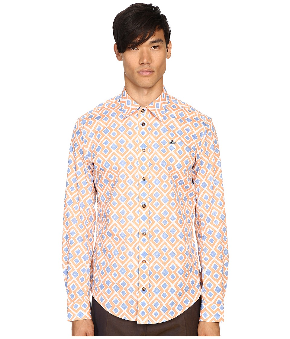 Vivienne Westwood - Printed Stretch Poplin Shirt (Blue Diamonds) Men's Clothing