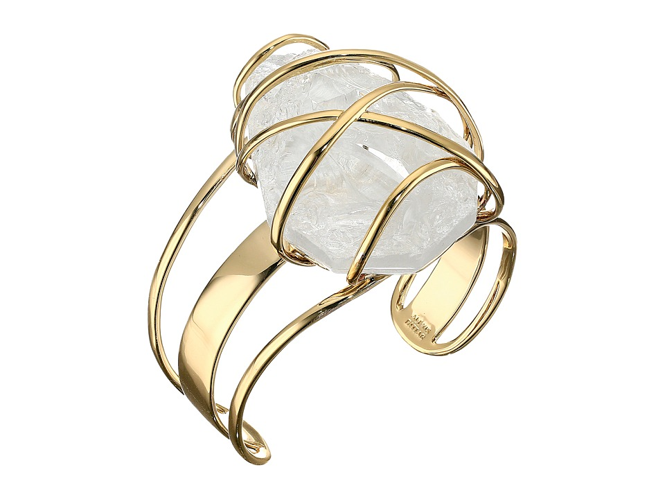 Alexis Bittar - Large Caged Cuff w/ Rough Cut Crystal Nugget Bracelet (10K Gold) Bracelet