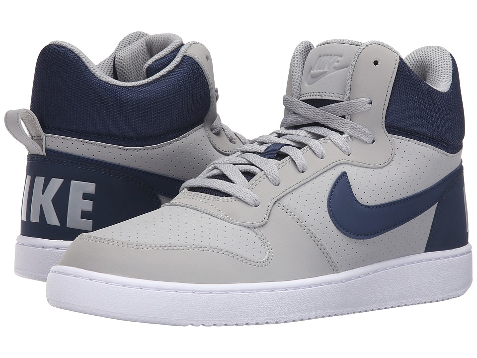 Nike - Court Borough Mid (Matte Silver/Mid Navy/White) Men's Basketball Shoes