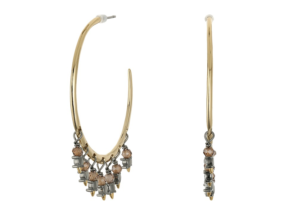 Alexis Bittar - Hoop w/ Dangling Crystal and Briolette Accent Earrings (Ruthenium w/ 14K Gold) Earring
