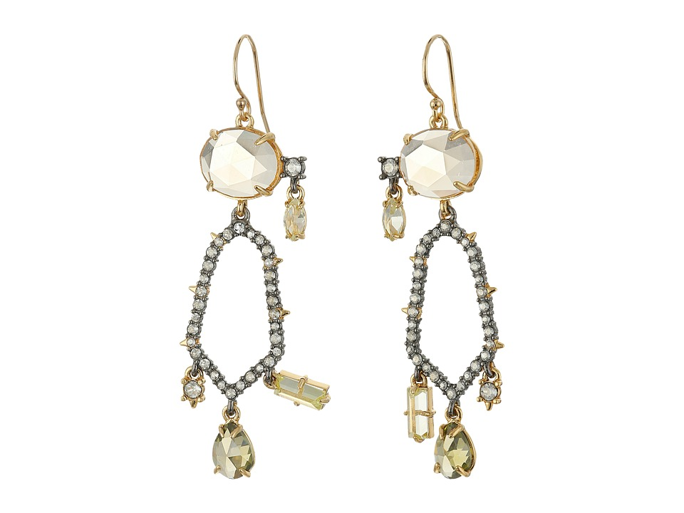 Alexis Bittar - Crystal Encrusted Dangling Honeycomb Wire Earrings (Ruthenium w/ 14K Gold) Earring