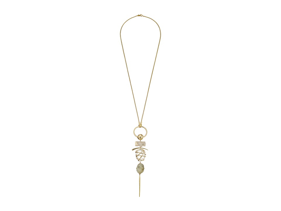 Alexis Bittar - Rough Cut Quartz w/ Liquid Gold Slice Caged Crystal Nugget Necklace (10K Gold) Necklace