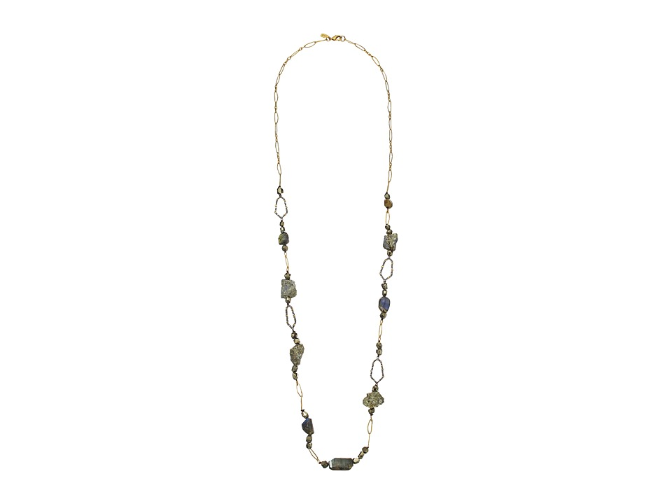 Alexis Bittar - Labradorite Rough Pyrite Station w/ Crystal Encrusted Honeycomb Links Necklace (Ruthenium w/ 14K Gold) Necklace