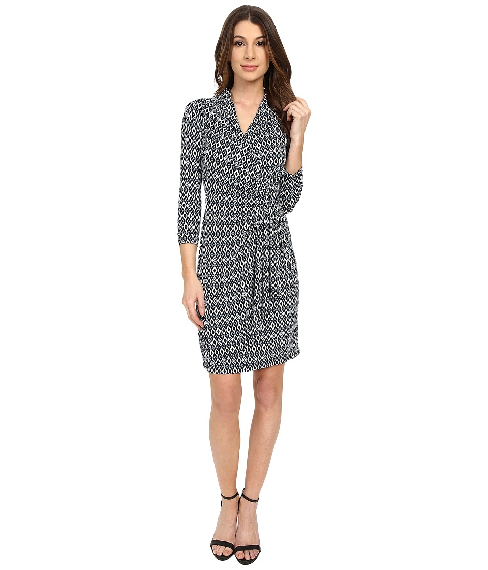 Karen Kane - Diamond Stripe Cascade Wrap Dress (Print) Women's Dress