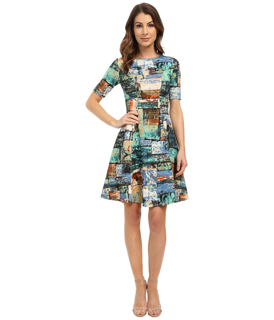 Karen Kane - Collage Print Scuba Dress (Marine Blue) Women's Dress
