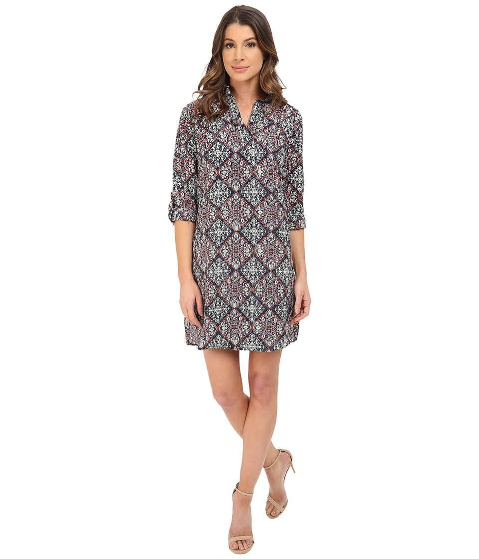 KUT from the Kloth - Long Sleeve Shirt Dress (Navy/Aqua) Women's Dress