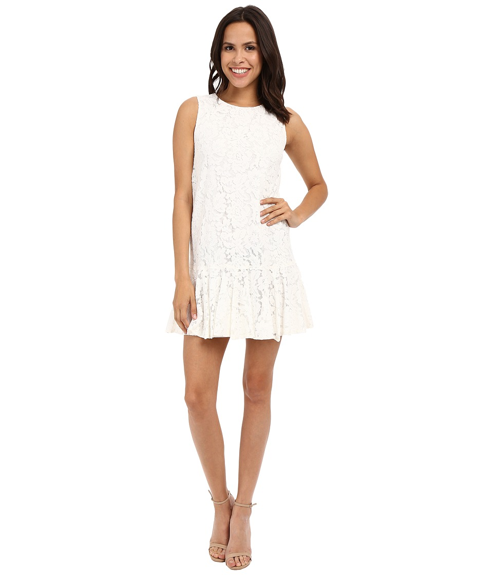 Karen Kane Lace Ruffle Hem Dress (Off-White) Women