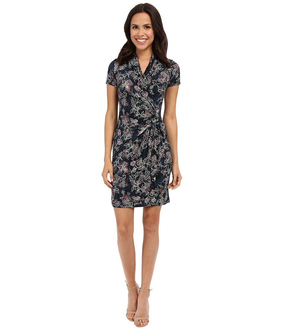 Karen Kane - Batik Floral Cascade Wrap Dress (Print) Women's Dress