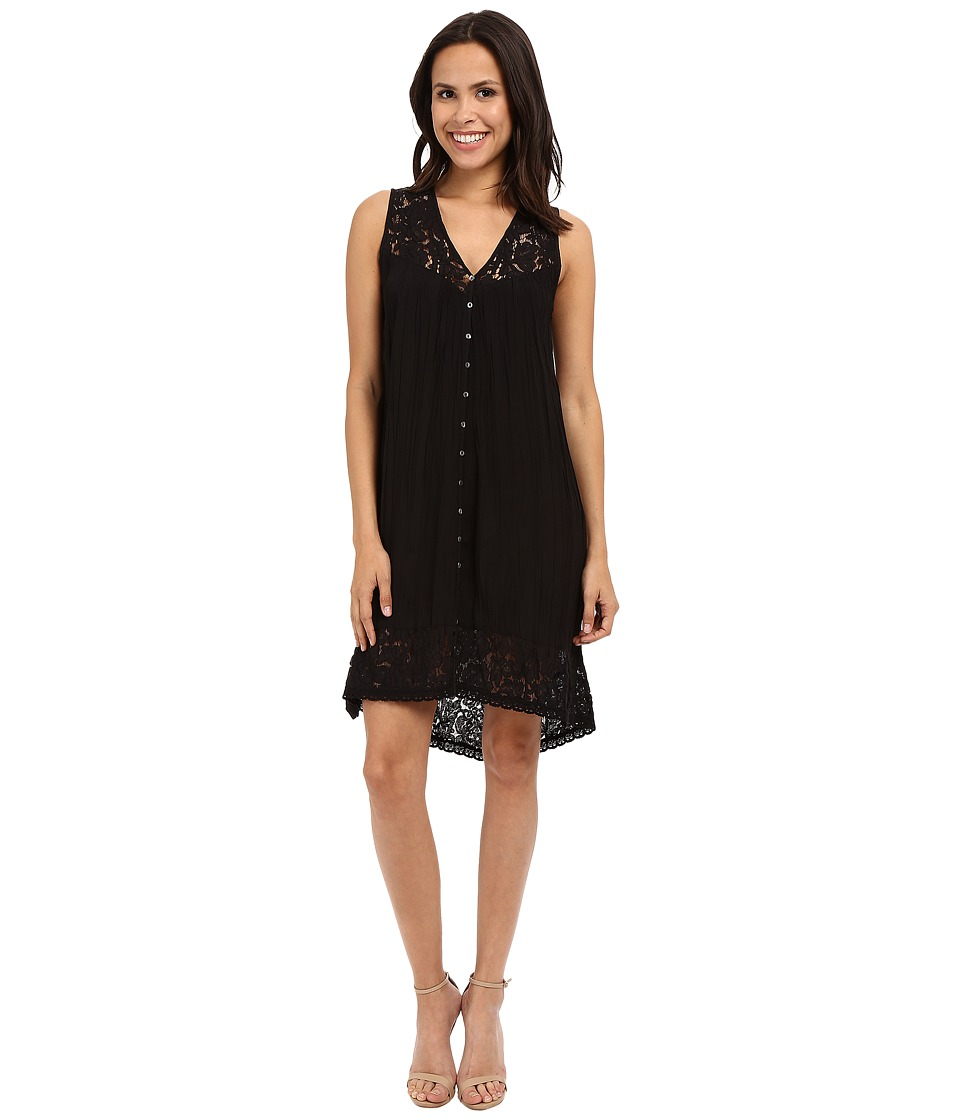 Karen Kane Crushed Lace Inset Dress (Black) Women