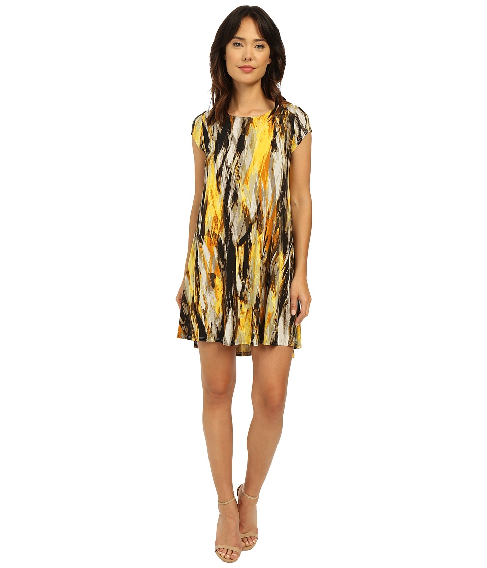 Karen Kane - Brushed Yellow Maggie Trapeze Dress (Print) Women's Dress