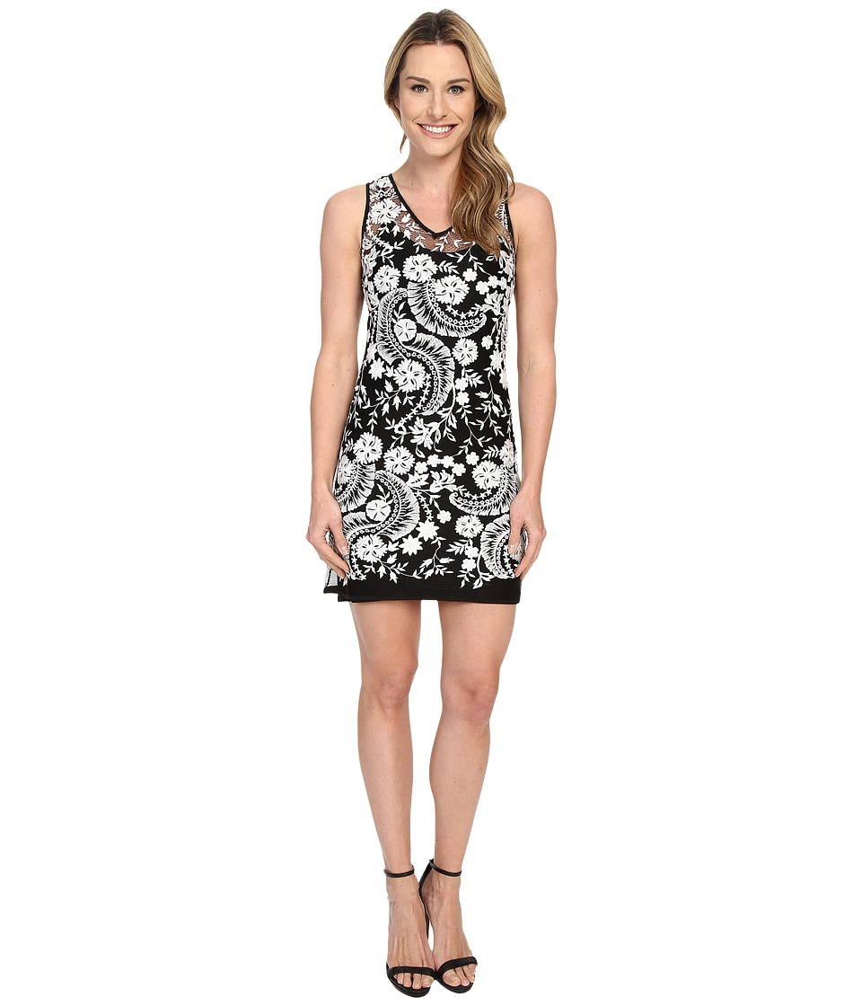Karen Kane Embroidered Lace Dress (Black/Cream) Women