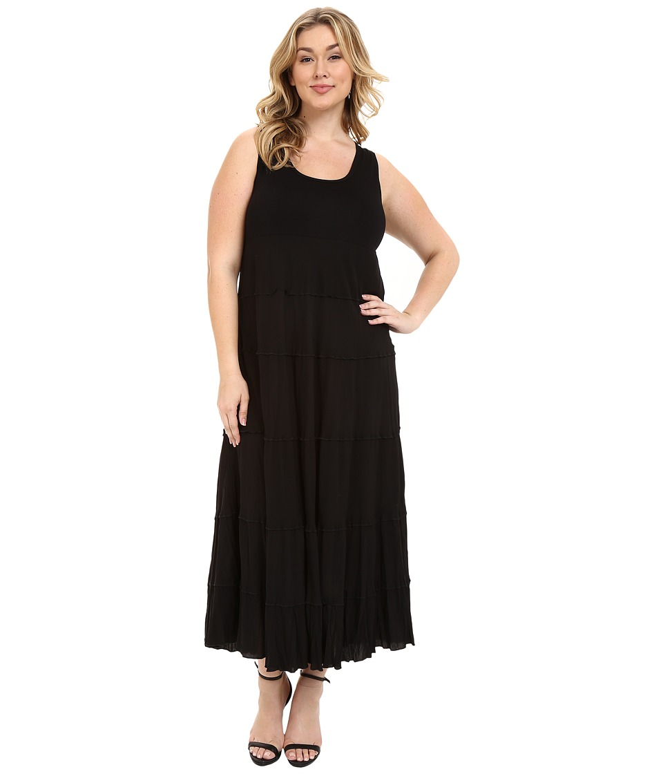 Karen Kane Plus - Plus Size Tiered Maxi Dress (Black) Women's Dress plus size,  plus size fashion plus size appare
