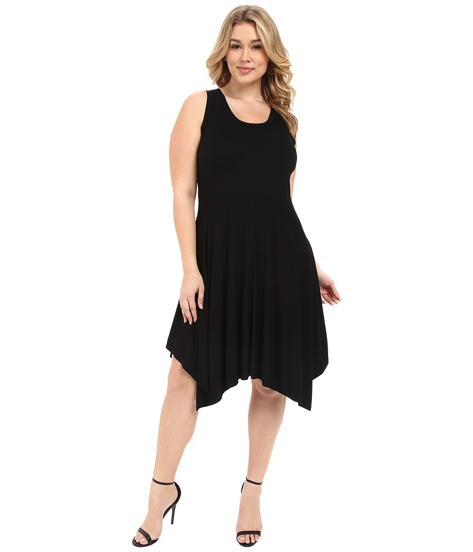Karen Kane Plus - Plus Size Jamie Angled Hem Dress (Black) Women's Dress