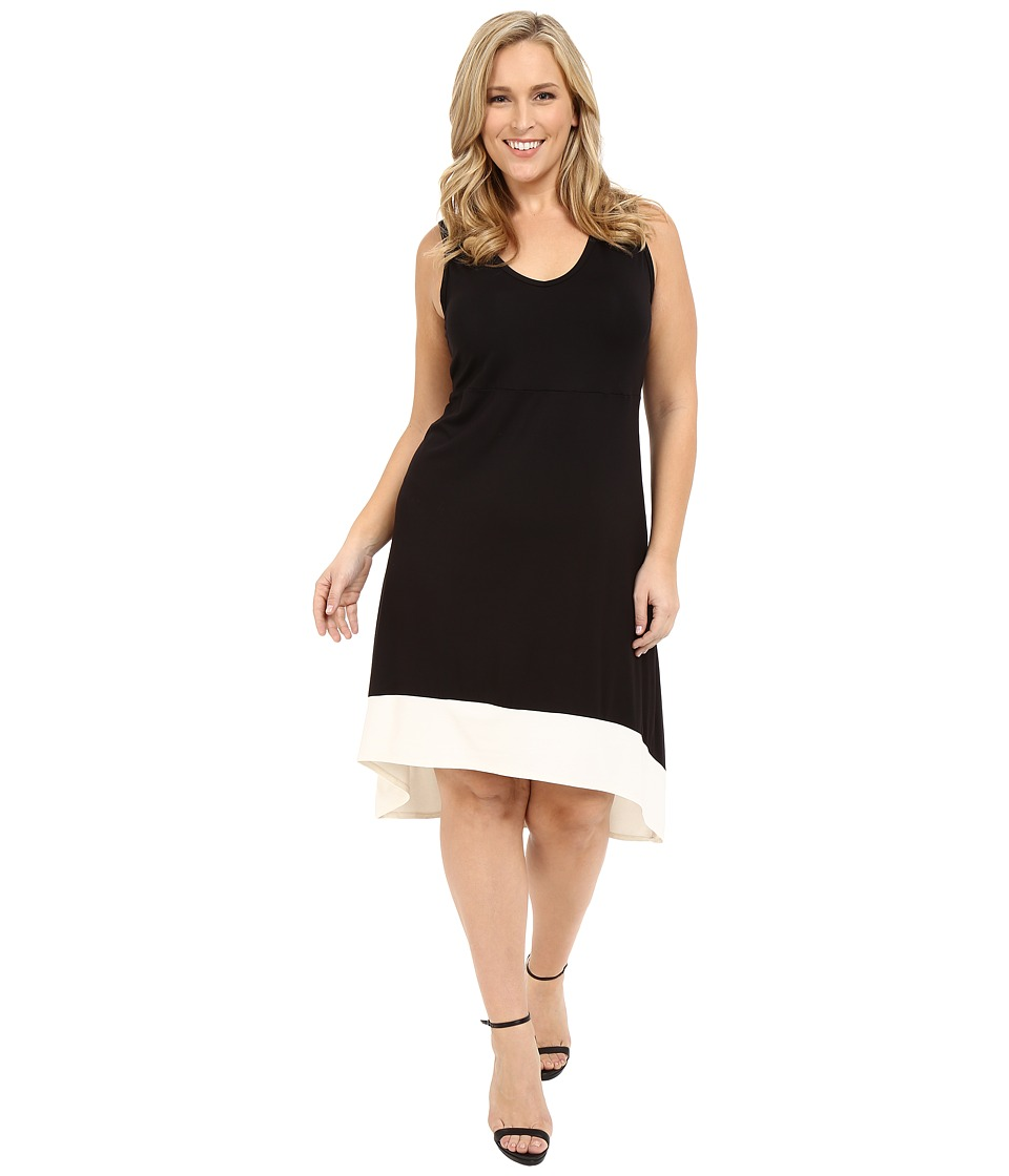 Karen Kane Plus - Plus Size Hi-Lo Sleeveless Dress (Black/Cream) Women's Dress