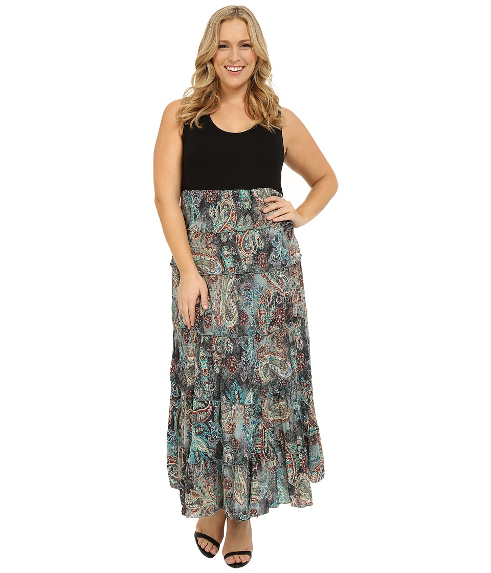 Karen Kane Plus - Plus Size Floral Paisley Print Tiered Maxi Dress (Print) Women's Dress plus size,  plus size fashion plus size appare