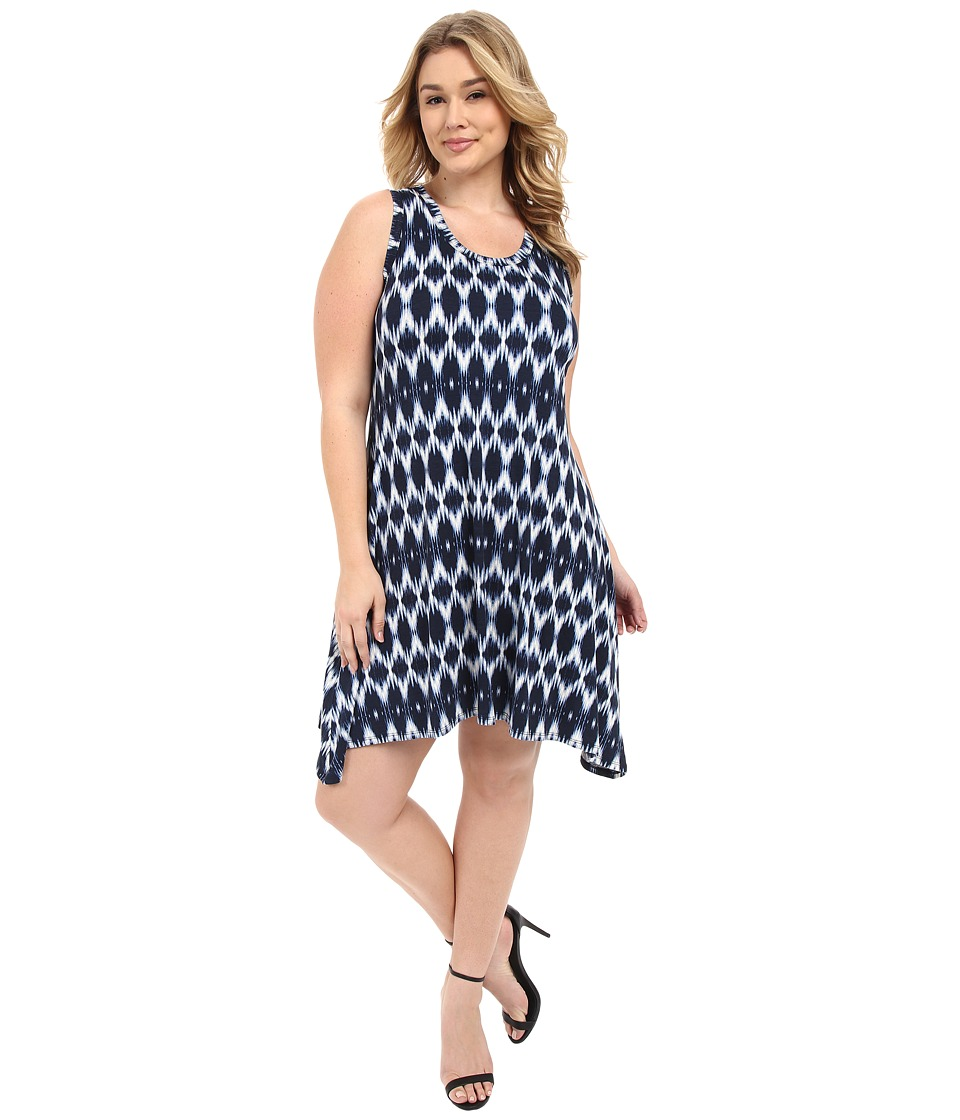 Karen Kane Plus - Plus Size Blurred Ikat Uneven Hem Tank Dress (Print) Women's Dress