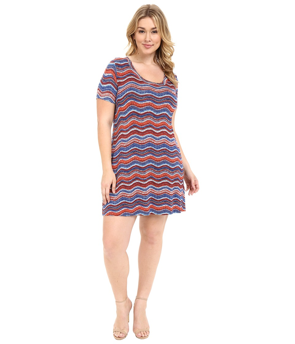 Karen Kane Plus - Plus Size Wavy Print T-Shirt Dress (Print) Women's Dress plus size,  plus size fashion plus size appare