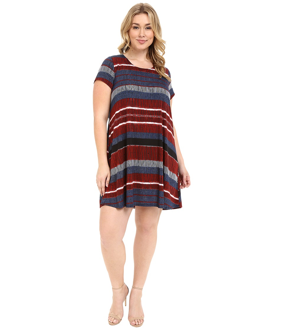 Karen Kane Plus - Plus Size Stripe Print Maggie Trapeze Dress (Print) Women's Dress