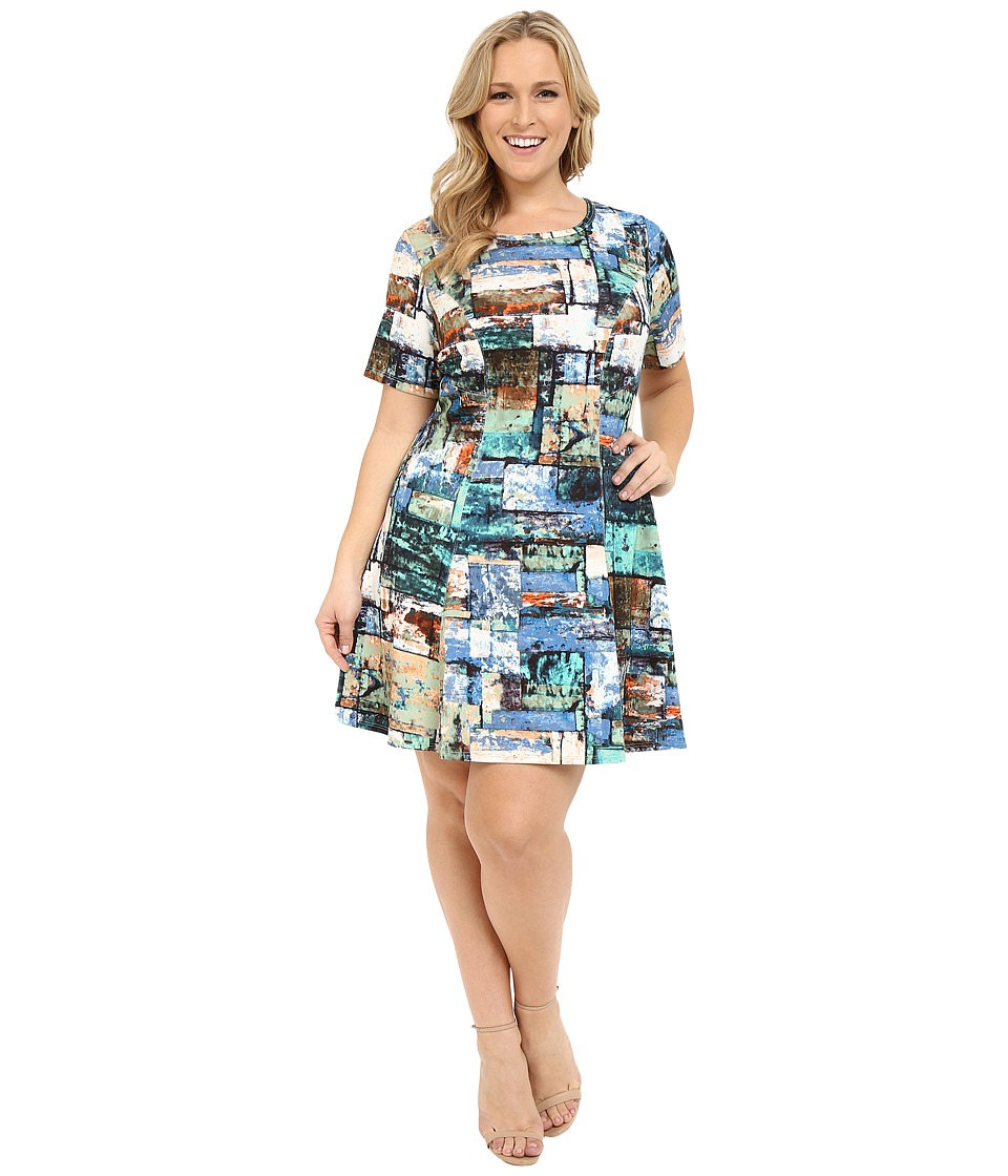 Karen Kane Plus - Plus Size Collage Print Scuba Dress (Marine Blue) Women's Dress