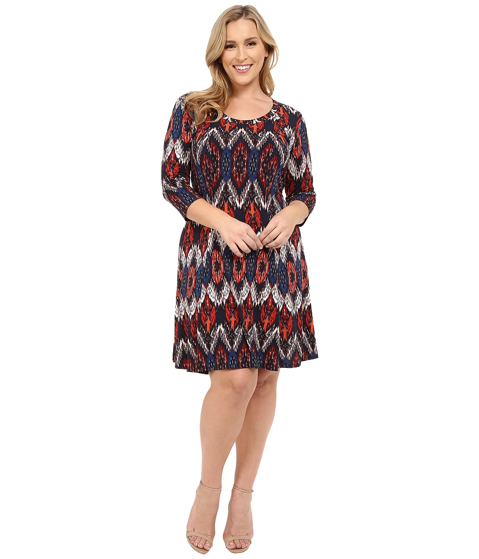 Karen Kane Plus - Plus Size Pacific Ikat 3/4 Sleeve A-Line Dress (Print) Women's Dress