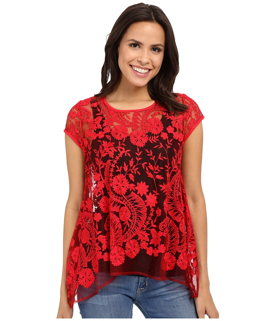 Karen Kane - Lace Flare Top (Fire) Women's Clothing